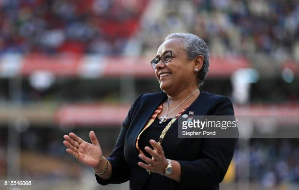 Margaret Kenyatta First Lady of Kenya stands to present medals during day five of the IAAF U18 World Championships on July 16 2017 in Nairobi Kenya