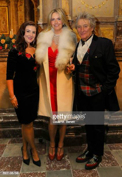 Margaret Keys Penny Lancaster and Rod Steward attend the Chain of Hope Carol at St Marylebone Parish Church on December 14 2017 in London England
