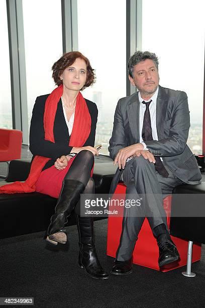 Margaret Mazzantini and Sergio Castellitto attend Sky Atlantic Photocall on April 3, 2014 in Milan, Italy.