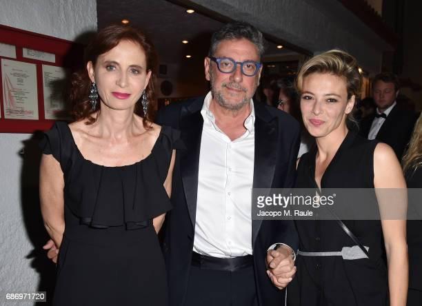 Margaret Mazzantini, Sergio Castellito and Jasmine Trinca attend Fondazione Prada Private Dinner during the 70th annual Cannes Film Festival at...