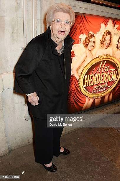 Margaret McGrath one of the Original Windmill Girls poses outside the theatre following the press night performance of Mrs Henderson Presents at the...