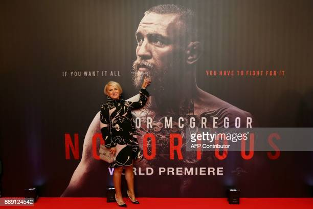 Margaret McGregor mother of Irish mixed martial arts star Conor McGregor poses upon arrival to attend the world premiere of the documentary film...