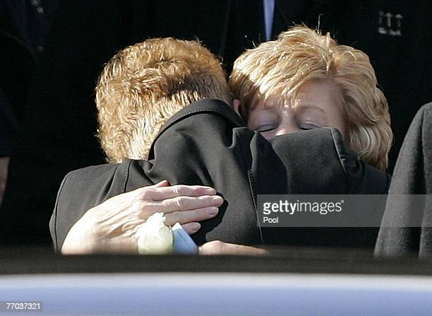 Margaret McRae, mother of Colin McRae is hugged as she leaves the funeral of Colin McRae and son Johnny at East Chapel, Daldowie Crematorium on...