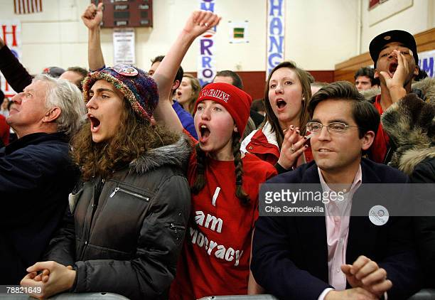 Margaret Nolan of Chicago cheers for Democratic Presidential hopeful Sen Barack Obama during a campaign rally in the gymnasium at Concord High School...