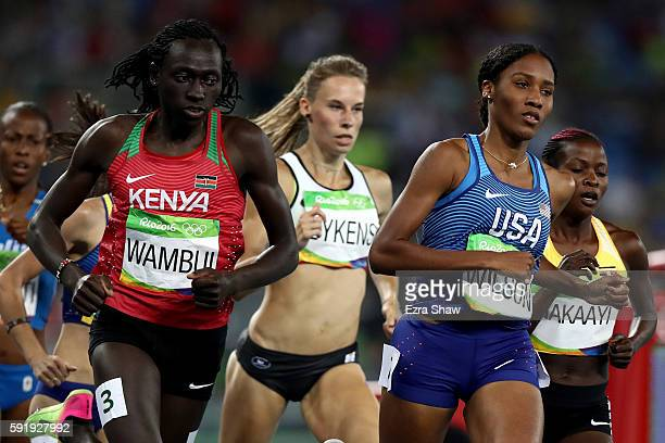 Margaret Nyairera Wambui of Kenya and Ajee Wilson of the United States compete during the Women's 800m Semifinals on Day 13 of the Rio 2016 Olympic...