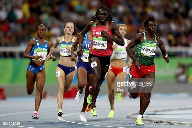 Margaret Nyairera Wambui of Kenya and Francine Niyonsaba of Burundi compete during the Women's 800m Semifinals on Day 13 of the Rio 2016 Olympic...
