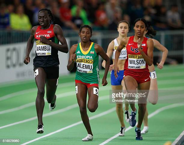 Margaret Nyairera Wambui of Kenya Habitam Alemu of Ethiopia and Ajee Wilson of the United States compete in the Women's 800 Metres Heats during day...