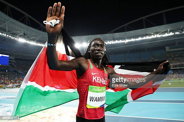 Margaret Nyairera Wambui of Kenya reacts after winning bronze in the Women's 800 meter Final on Day 15 of the Rio 2016 Olympic Games at the Olympic...