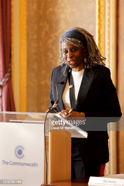 Margaret Omolola Young Baroness Young of Hornsey OBE attends the Commonwealth International Women's Day event at Marlborough House on March 06 2020...