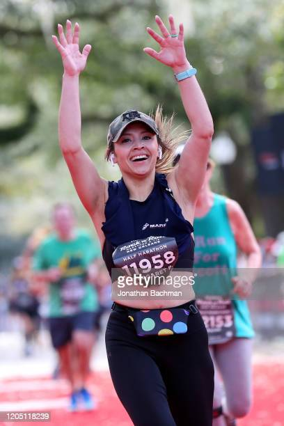 Margaret Pedaza reacts after finishing the Humana Rock 'n' Roll New Orleans 1/2 Marathon on February 09, 2020 in New Orleans, Louisiana.