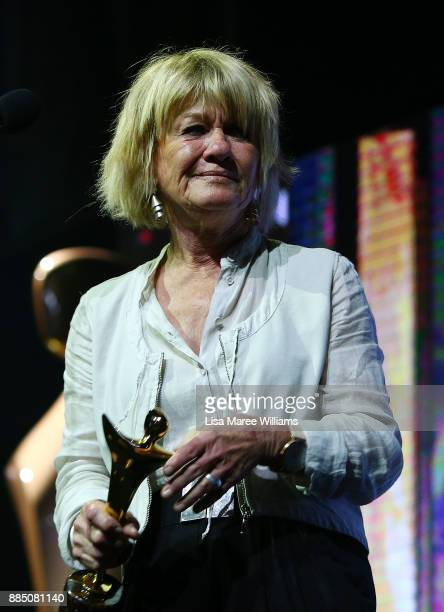 Margaret Pomeranz accepts the AACTA Subscription Television Award For Best Female Presenter during the 7th AACTA Awards Presented by Foxtel |...