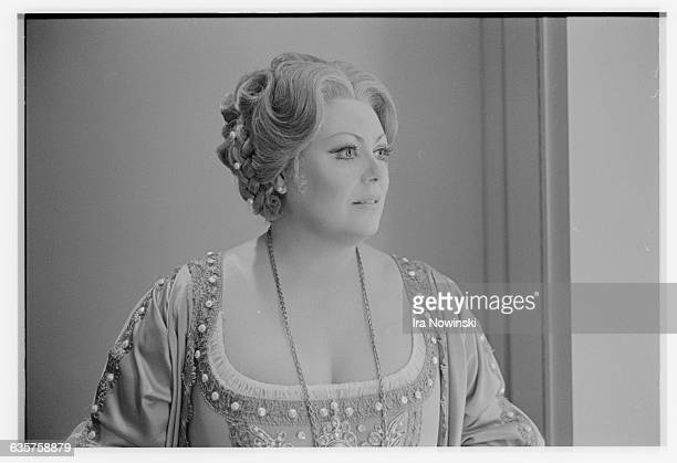 Margaret Price poses in her costume for a photographer Price performs the role of Amelia Grimaldi in the San Francisco Opera Compnay's production of...