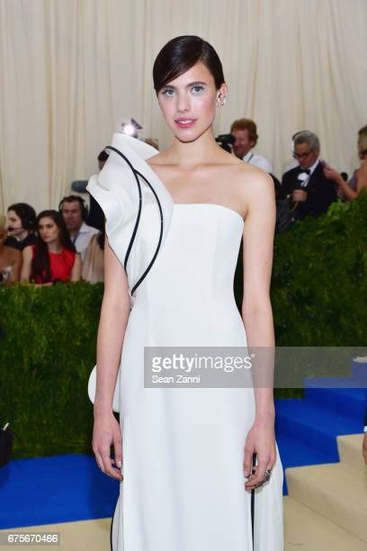 Margaret Qualley arrives at 'Rei Kawakubo/Comme des Garcons Art Of The InBetween' Costume Institute Gala at The Metropolitan Museum on May 1 2017 in...