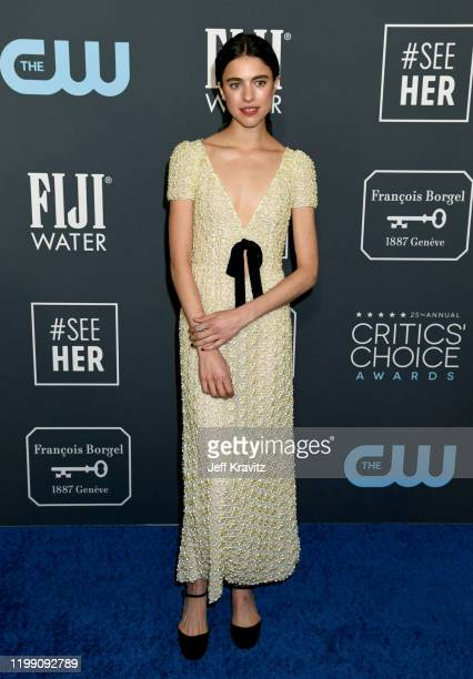 Margaret Qualley attends the 25th Annual Critics' Choice Awards at Barker Hangar on January 12, 2020 in Santa Monica, California.