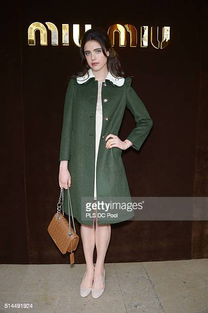 Margaret Qualley attends the Miu Miu show as part of the Paris Fashion Week Womenswear Fall / Winter 2016 on March 9 2016 in Paris France