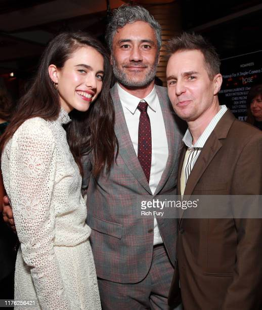 Margaret Qualley, Taika Waititi and Sam Rockwell attend Vanity Fair and FX's annual Primetime Emmy Nominations Party on September 21, 2019 in Century...