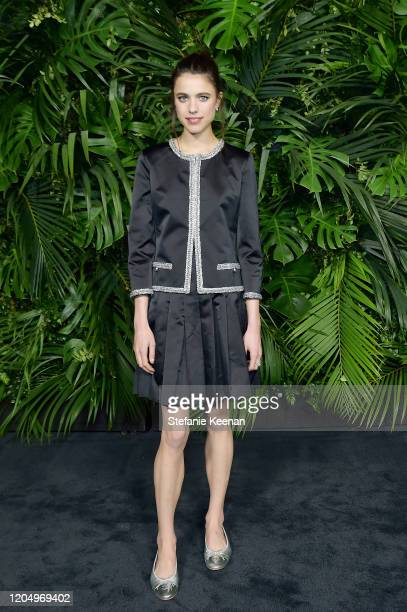 Margaret Qualley, wearing CHANEL, attends CHANEL and Charles Finch Pre-Oscar Awards Dinner at Polo Lounge at The Beverly Hills Hotel on February 08,...
