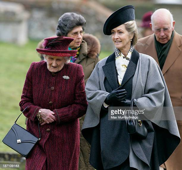Margaret Rhodes and Lady Penny Brabourne accompany Queen Elizabeth II and Prince Philip Duke of Edinburgh as they attend Sunday service at the church...