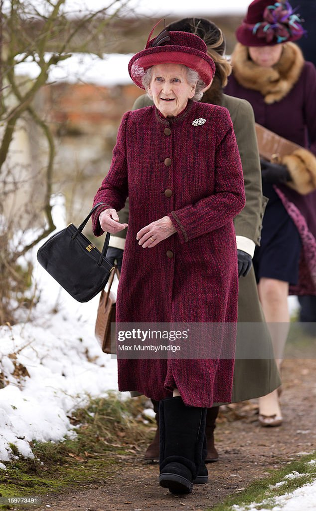 Margaret Rhodes (cousin of Queen Elizabeth II) attends Sunday Service along with Queen Elizabeth II at the Church of St Lawrence in Castle Rising near the Sandringham Estate on January 20, 2013 near King's Lynn, England.