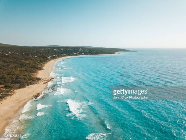 margaret river beach drone - western australia stock photos and pictures