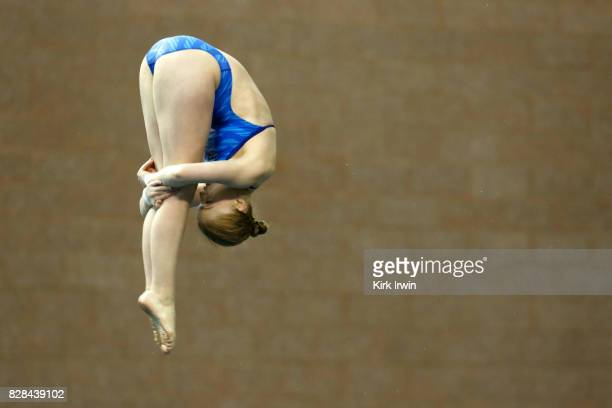 Margaret Rogers of City of Midland holds a pike position while completing a dive during the Senior Women's Platform Semifinal during the 2017 USA...
