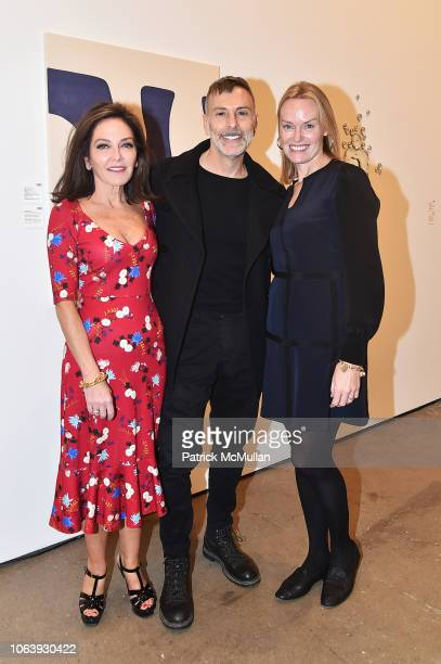 Margaret Russell Joseph La Piana and Andrea Glimcher attend Artists For Equality at Sean Kelly Gallery on October 22 2018 in New York City
