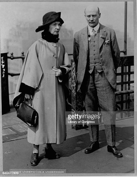 Margaret Sanger founder of the birth control movement in the United States and Dr Charles V Drysdale pose for a photograph during the Sixth World...