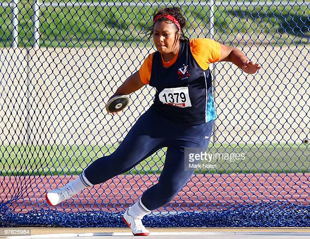 Margaret Satupai of Victoria competes in the Girls under 20 discus Throw during day one of the 2010 Australian Junior Championships at Sydney Olympic...