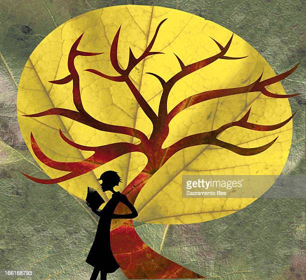 Margaret Spengler illustration of woman silhouetted against a fall leaf reading a book can be used with stories about fall reading