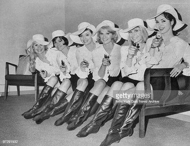 Margaret Teele Barbara Burgess Jan Watson Marilyn Tindall Margie Nelson and Mary Jane Mangler from the movie Silencers posing at Kennedy Airport