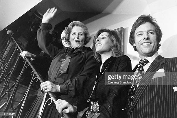 Margaret Thatcher accompanied by her husband Denis and children Carol and Mark on election night when she led the Conservative Party to victory in...