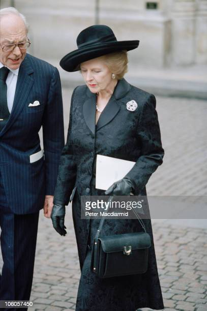 Margaret Thatcher and Denis Thatcher attend a memorial service for Viscount Tonypandy At Westminster Abbey London 13th November 1997
