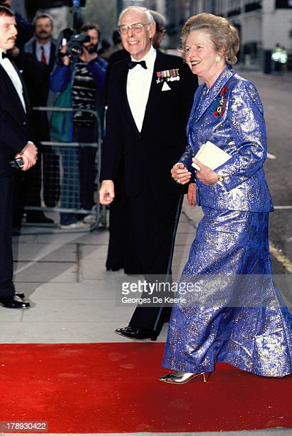 Margaret Thatcher and her husband Denis Thatcher attend the State Banquet given by Former Polish President Lech Walesa in honor of the Queen on April...