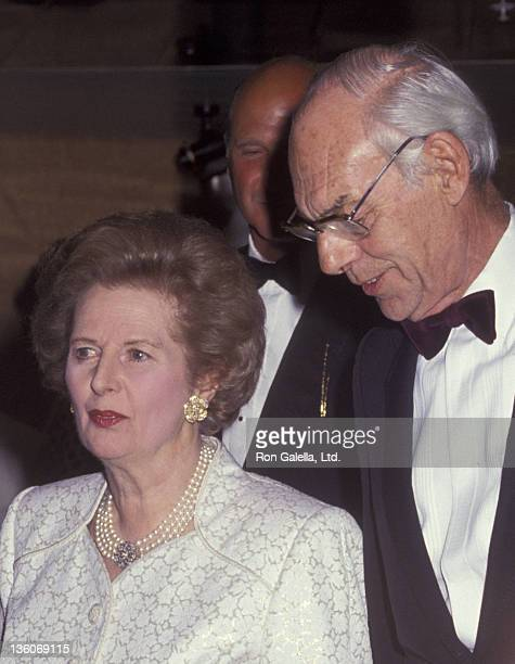Margaret Thatcher and husband Denis Thatcher attend Royal Princess Dinner Gala on August 7 1991 at Pier 88 in New York City