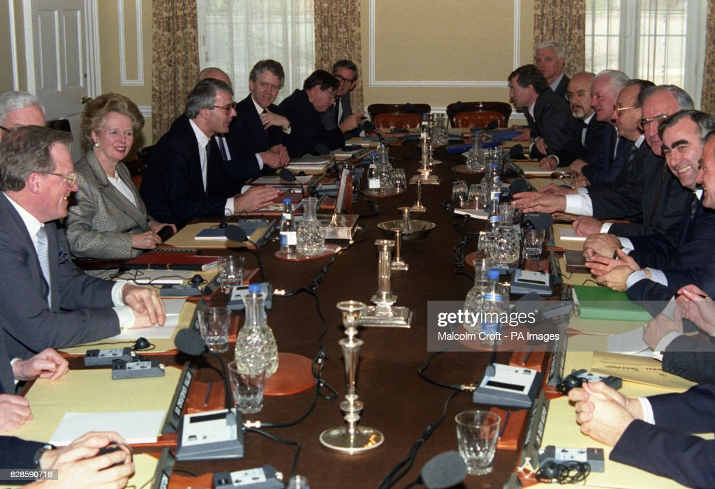 Margaret Thatcher And John Major And The Rest Of The Cabinet Are Joined By  West German