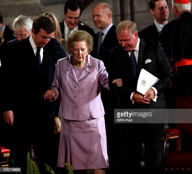 Margaret Thatcher arrives at Westminster Hall on September 17, 2010 in London, United Kingdom. During the four day state visit Pope Benedict will...