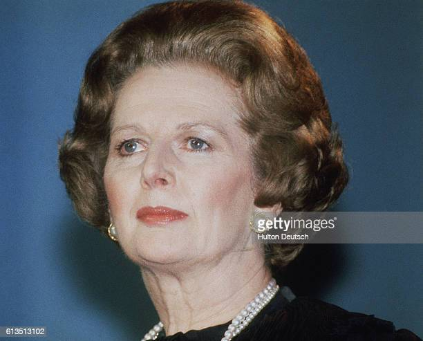 Margaret Thatcher at the Conservative Party Conference in 1983 In 1975 she was the first woman Party leader and in 1979 the first female prime...