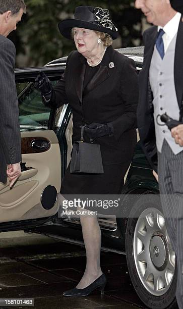 Margaret Thatcher Attends A Memorial Service For Lord Lichfield At Wellington Barracks, London. .