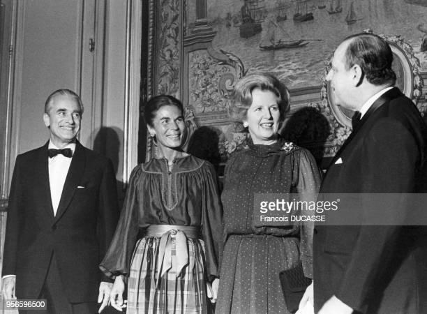 Margaret Thatcher entourée de Raymond Barre Micheline Chavelet et Jacques ChabanDelmas au palais Rohan lors de sa visite officielle à Bordeaux en...