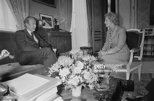 Margaret Thatcher is received by the President of the Republic Valéry Giscard d'Estaing