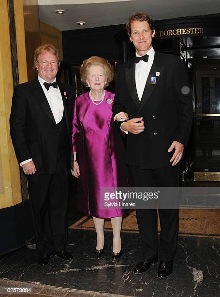 Margaret Thatcher leaving the Dorchester Hotel on July 1 2010 in London England