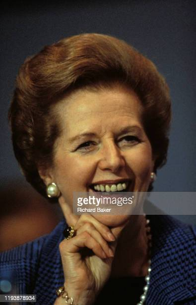 Margaret Thatcher listens to speeches the last as Prime Minister during the October 1990 Conservative Party Conference in Blackpool on 11th October...