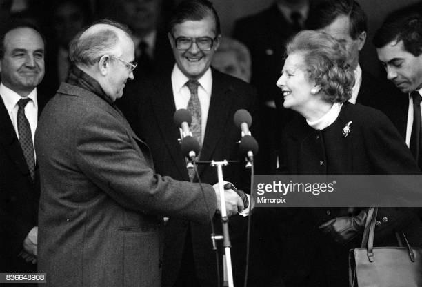 Margaret Thatcher meets President Mikhail Gorbachev at RAF base Brize Norton Dec 1987