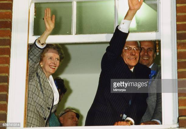 Margaret Thatcher PM and husband Denis Thatcher celebrate after winning 1987 General Election 10 Downing Street London Friday 12th June 1987