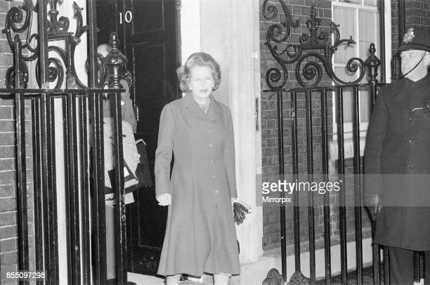 Margaret Thatcher PM pictured outside Downing Street London 15th January 1982 she is leaving Downing Street at 745 am in the morning in a good mood...