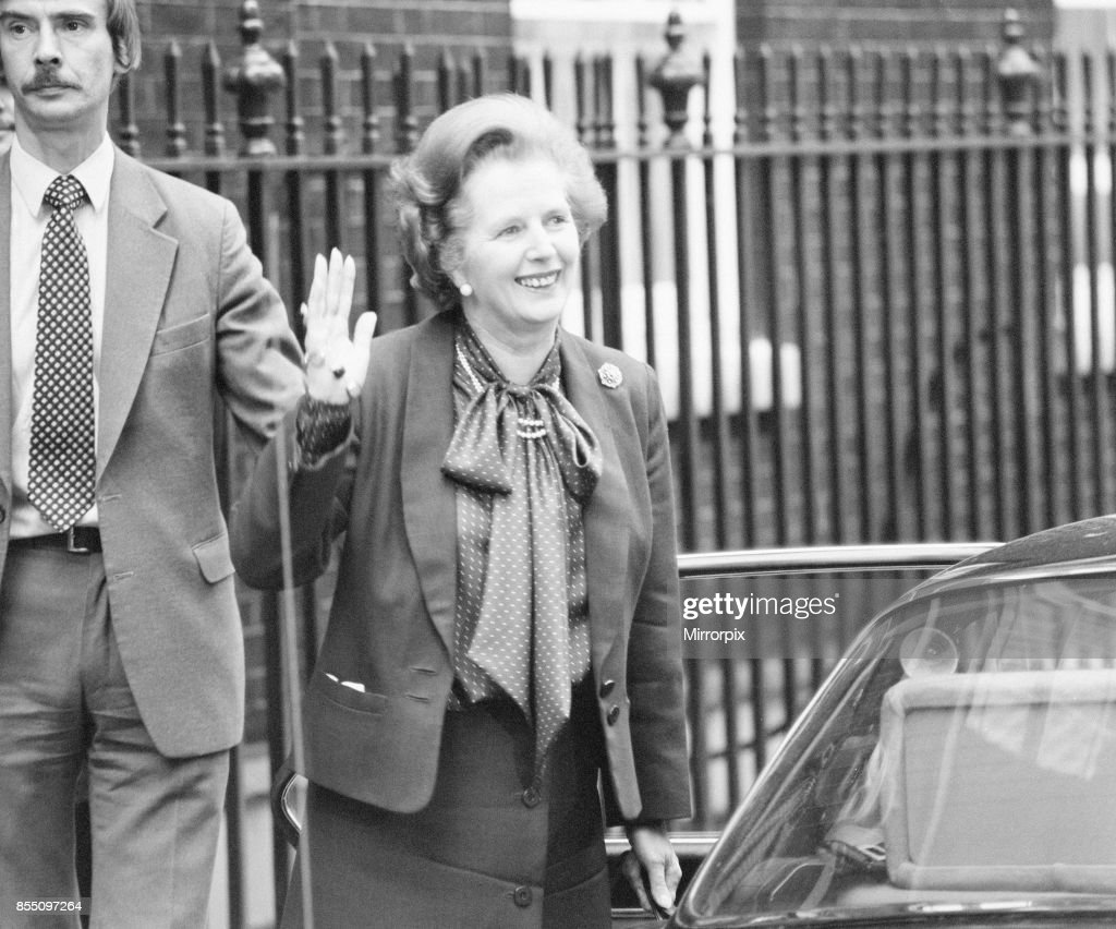 Margaret Thatcher PM pictured outside Downing Street, London, 22nd May 1982.