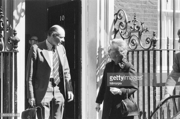 Margaret Thatcher PM pictured outside Downing Street, London, Friday 23rd April 1982, leaving Down Street, grim faced, as the British Task Force fast...