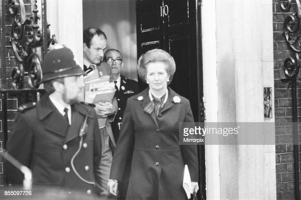 Margaret Thatcher PM pictured outside Downing Street London Thursday 6th May 1982 she iseaving Downing Street for the House of Commons to address...