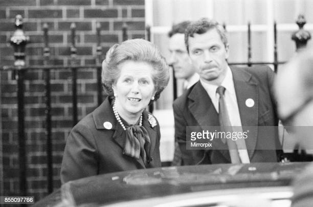 Margaret Thatcher PM pictured outside Downing Street, London, Thursday 6th May 1982, she iseaving Downing Street for the House of Commons, to address...