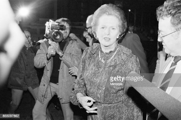Margaret Thatcher PM pictured speaking to the press outside Downing Street London evening of Monday 14th June 1982 Falklands Conflict A ceasefire was...
